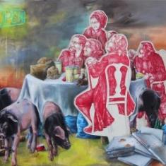 Geschlossene Gesellschaft, 2015, Acryl/Öl auf Nessel, 170 cm x 200 cm
